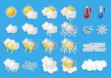 Weather icons for meteorology forecast [Convertido] Royalty Free Stock Photos