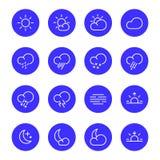Weather icons, meteorology simple line symbols, illustration Stock Photography