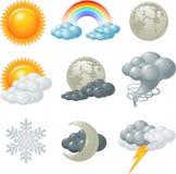 Weather icons. Nine weather related icons set Stock Photo