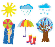 Weather icons and objects set cartoons Stock Photos