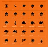 Weather icons on orange background. Royalty Free Stock Photography