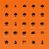 Weather icons on orange background. Vector illustration vector illustration