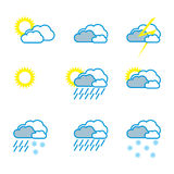 Weather icons outline Royalty Free Stock Image