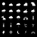Weather icons with reflect on black background Stock Photos