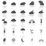 Weather icons with reflect on white background Stock Image