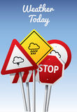 Weather Icons on Road Signs Royalty Free Stock Photos