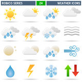Weather Icons - Robico Series. Collection of 16 colorful weather forecast icons, isolated on white background. Robico Series: check my portfolio for the complete stock illustration