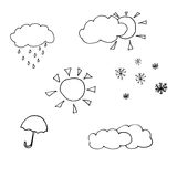 Weather icons. Weather scetch icons. weather forecast icons hand drawn doodle royalty free illustration