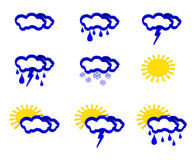 Weather icons set. 3d color weather icons set Stock Image