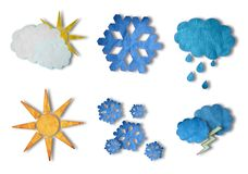 Weather icons set. Weather symbols made from colored paper isolate in white Royalty Free Stock Image