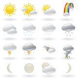 Weather Icons Set. Of Natural Phenomenons Stock Photos