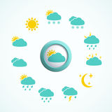 Weather icons set. 3d button with Weather icons set Stock Photos