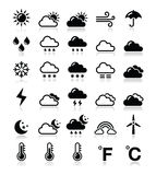 Weather icons set -. Black icons set - weather conditions, seasons with reflection Royalty Free Stock Photography