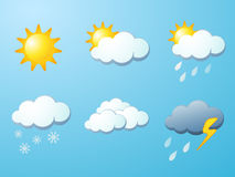 Weather icons set. Vector illustration for the weather report Royalty Free Stock Photography