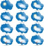 Weather icons set as labels. Œ. Weather icons set as labels. Made in vector Stock Photos