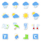 Weather icons set as labels Royalty Free Stock Photos