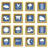 Weather icons set blue Stock Photography