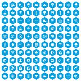 100 weather icons set blue. 100 weather icons set in blue hexagon isolated vector illustration Stock Illustration