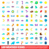 100 weather icons set, cartoon style. 100 weather icons set in cartoon style for any design vector illustration Stock Illustration
