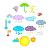 Weather icons set, cartoon style. Weather icons set. Cartoon illustration of 16 weather vector icons for web Vector Illustration