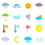 Weather icons set, cartoon style Royalty Free Stock Photos