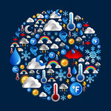 Weather Icons set in circle shape Stock Images