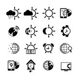 Weather icons. Set of 16 weather icons and clock icons Stock Photo