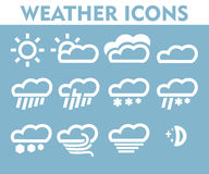 Weather icons set clouds wind gusts of rain hail storm Royalty Free Stock Photography