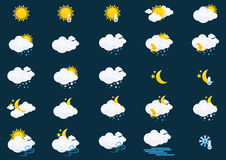 Weather Icons Set. Collection of 25 colorful weather forecast icons, you can use a phone app royalty free illustration