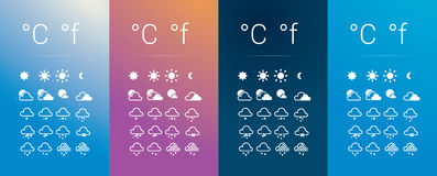 Weather Icons Set. Collection of 20 colorful weather forecast icons, On 4 different types of background depending on the time of the day. Eps file available stock illustration