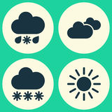 Weather Icons Set. Collection Of Weather, Snowy, Wet And Other Elements. Also Includes Symbols Such As Hate, Sun, Sleet. Stock Images