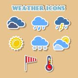 Weather icons set, color stickers Stock Photography
