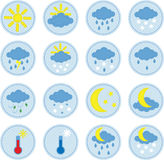 Weather icons. Set of a cute sewed cloth weather icons Stock Photo