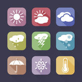 Weather icons set. On a dark background Royalty Free Stock Image