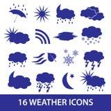 Weather icons set eps10. Blue weather icons set eps10 Stock Images