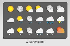 Weather icons set flat design Stock Image