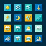 Weather icons set in flat design style Stock Images
