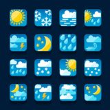 Weather icons set in flat design style Royalty Free Stock Photos