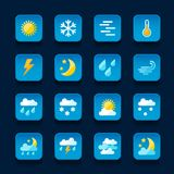 Weather icons set in flat design style Stock Photography
