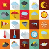 Weather icons set, flat style Stock Images