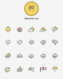 Weather icons. Set of Flat Line Color Weather icons. Vector Royalty Free Stock Photos