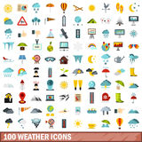 100 weather icons set, flat style Royalty Free Stock Photos