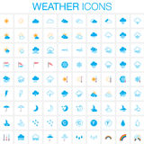Weather icons set. Full and outline versions isolated on white background. Vector illustration. Royalty Free Stock Image