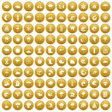 100 weather icons set gold. 100 weather icons set in gold circle isolated on white vector illustration royalty free illustration