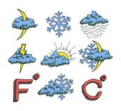 Weather icons set. Hand drawn sketch. Vector eps8 Stock Images