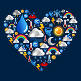 Weather icons set in heart shape Stock Photography