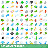 100 weather icons set, isometric 3d style. 100 weather icons set in isometric 3d style for any design vector illustration Royalty Free Stock Photos