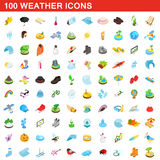 100 weather icons set, isometric 3d style Stock Photos