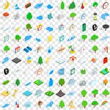 100 weather icons set, isometric 3d style. 100 weather icons set in isometric 3d style for any design vector illustration Stock Image
