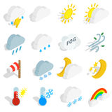 Weather icons set, isometric 3d style Royalty Free Stock Photo